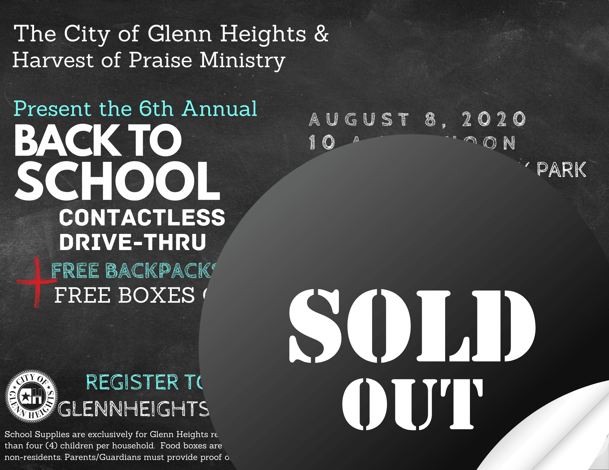 Sold Out 8.4.2020 Back To School Bash