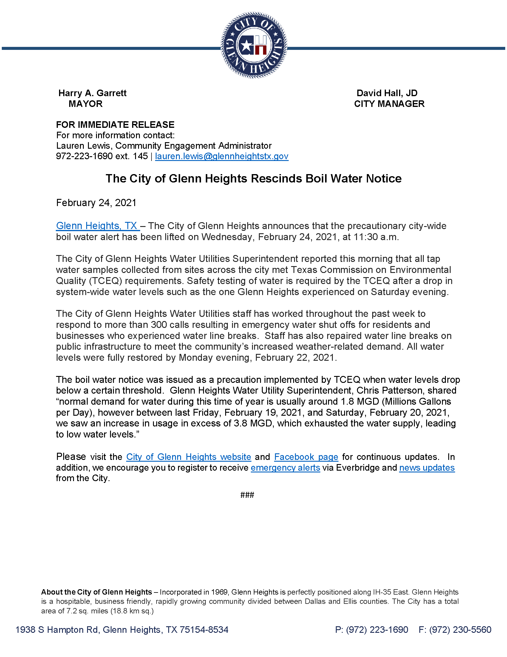 Final Press Release 2.24.21 p.1 The City of Glenn Heights Rescinds Boil Water Notice