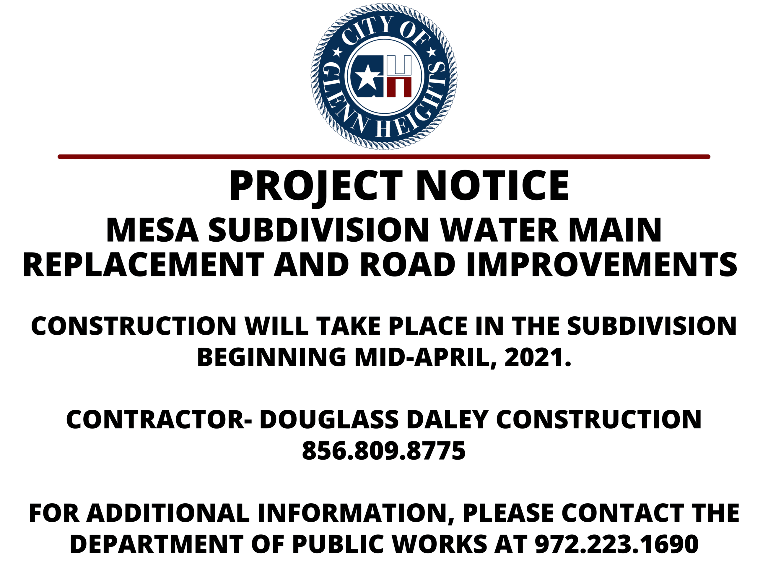 Mesa Project Notice to the Public- Water Main Replacement